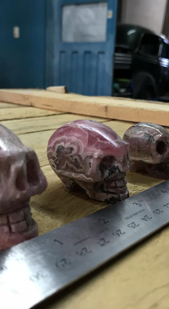 Rhodochrosite Skulls