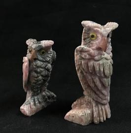 Rhodochrosite Owls