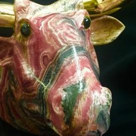 Rhodochrosite Bull With Bronze Horns